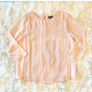 VINCE CAMUTO Pale Pink Pleated 3/4 Sleeve Blouse